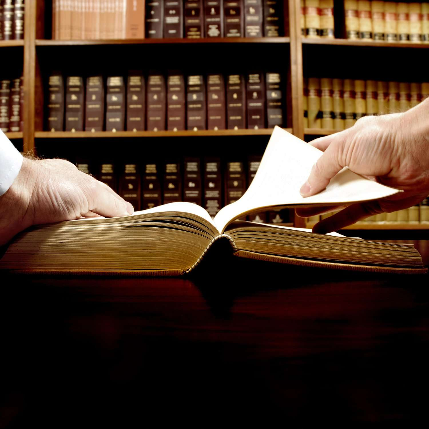 Criminal defense attorney researching criminal law